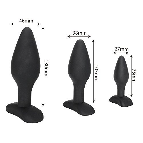 LOCK FOR MEN IKOKY Sexy Black Silicone Anal Plug Massage Adult Sex Toys For Women Man Gay Anal But Plug Set Buttplug Butt Plugs Sex Products by LOCK FOR MEN