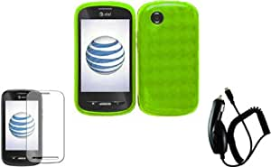Neon Green TPU Case Cover+LCD Screen Protector+Car Charger for ZTE Merit 990G Avail Z990