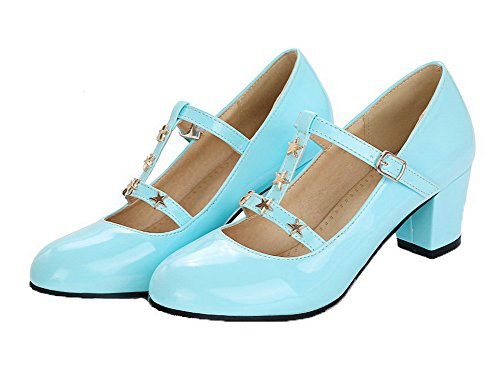 Buckle Solid Pumps PU Kitten Skyblue Shoes Round Heels Toe WeenFashion Women's 5wOABqn7