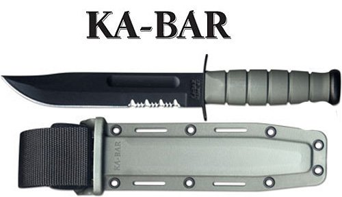 Ka-Bar Fighting Knife with Kraton Handle Edge, Grey (Handle Kraton Edge)