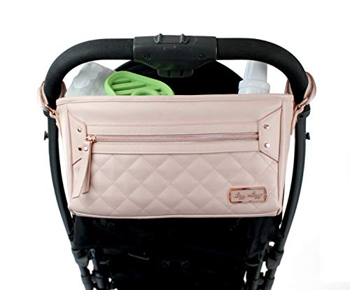 Itzy Ritzy Adjustable Stroller Caddy – Stroller Organizer Featuring Two Built-in Pockets, Front Zippered Pocket and Adjustable Straps to Fit Nearly Any Stroller, Blush
