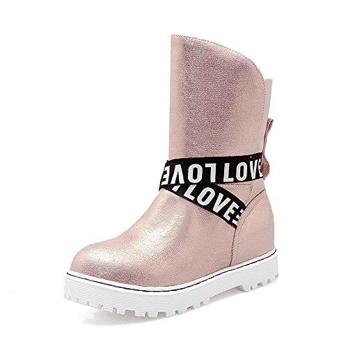AllhqFashion Damen Mittler Absatz Gemischte Farbe Ziehen auf Rund Zehe Stiefel, Grau, 33