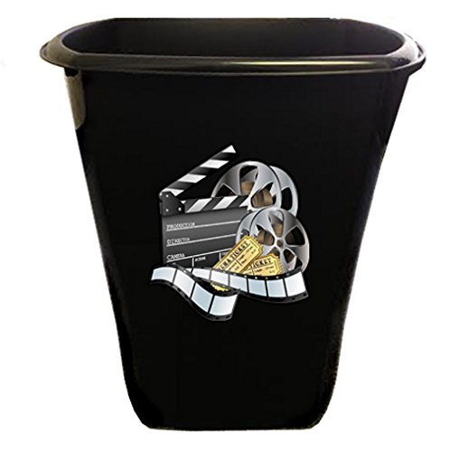 The Furniture Cove New Black Finish Trash Can Waste Basket featuring Movie Reel Logo