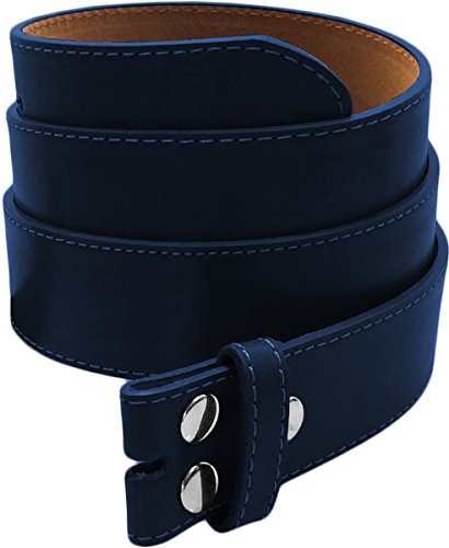LUNA Premium Basic Genuine Leather Stitching Belt Strap - Navy - 3X Large