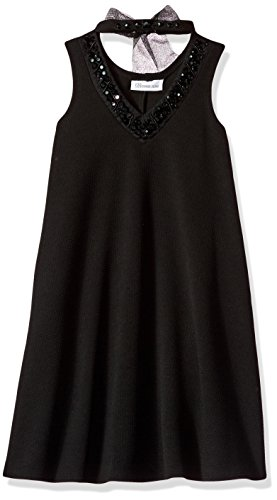 Bonnie Jean Big Girls' Sleeveless Aline Jeweled Choker Dress, Black, 10 (Dress Jeweled Black)