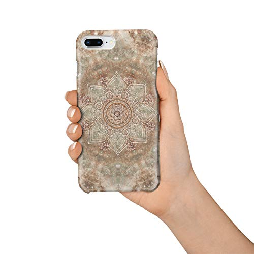 Durable Phone Case for iPhone 7 Plus/iPhone 8 Plus, Bejeweled Marble Mandala Flower Pattern Stylish Phone Shell Shockproof Protective Back Cover with Tempered Glass Screen Protector, Anti-Scratch ()