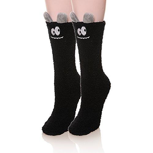 Womens Soft Cute Funny Animal Designe Microfiber Slipper Socks Cozy Fuzzy Winter Warm Socks (Chenille Animal)