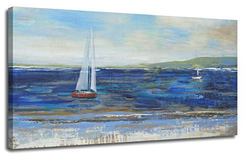 Ardemy Canvas Wall Art Blue Abstract Seascape Painting Large Size One Panel Picture Prints, Modern Landscape Sail Boat in Ocean Artwork Framed for Living Room Bedroom Home Office Decor 40
