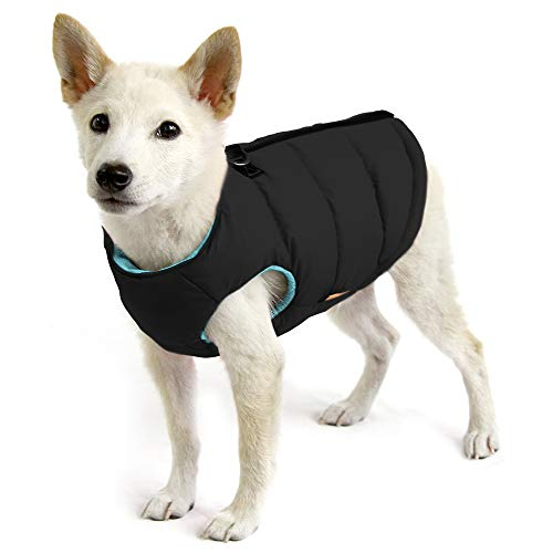 Gooby - Padded Vest, Dog Jacket Coat Sweater with Zipper Closure and Leash Ring, Solid Black, Small