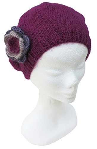 Handmade Pure Alpaca Beret Hat - Pink-Plum (Knitted by Hand)