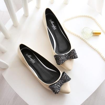 &qq Zapatos de los zapatos del solo, zapatos bajos planos de la cucharada, zapatos dulces del arco 38