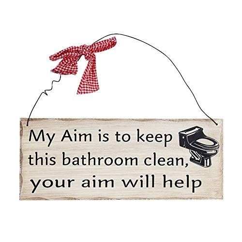 Bathroom Wall Plaque Sign, 4X10 Decorative Hanging Wood Sign for Bathroom My Aim Is To Keep the Bathroom Clean Your Aim Will Help Wooden Sign