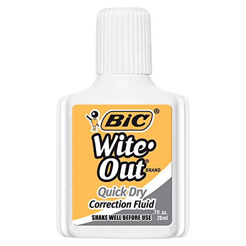 - BIC Wite-Out Brand Quick Dry Correction Fluid, 20 ml, White, 12-Count