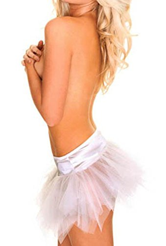 White Swan Costume Diy (Women's All-match Lace Tutu Fashion Yarn Net Short skirt for Corset,White,Large)