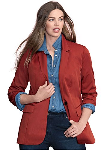Roamans Plus Size Boyfriend Blazer By Denim 24/7 (Red Ochre,18 W)