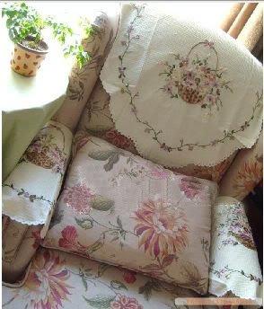 Vintage Hand Ribbon Embroi Sofa Headrest Armrest Cloth Amazon Co Uk