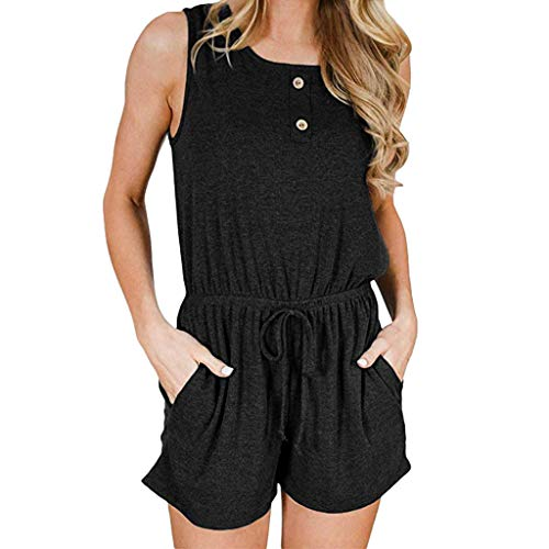 KYLEON Women's Jumpsuits Sleeveless Bandage Solid Girls Summer Party Casual Shorts Rompers Outfits Playsuit with Pockets
