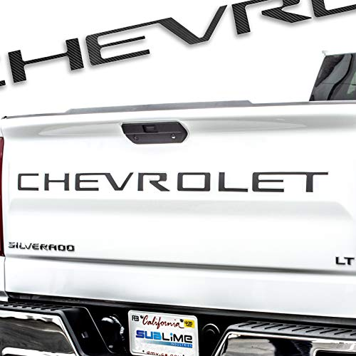 (Sublime Industries Tailgate Letters Insert High Grade PVC Plastic [NOT DECALS] Compatible and Fits For 2019 Chevy Silverado - Carbon Fiber)
