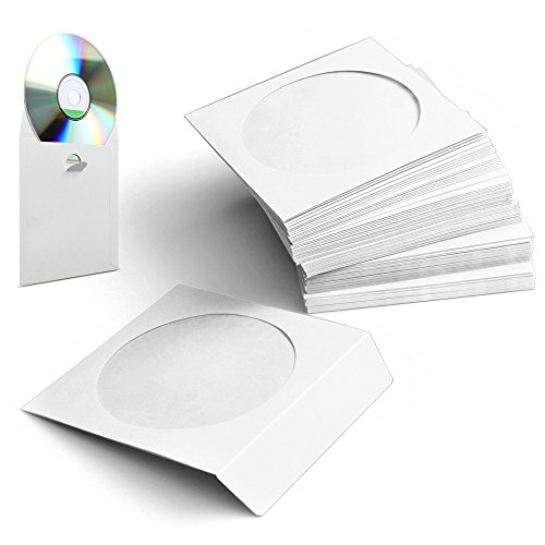 Flexzion CD DVD Paper Sleeves 100 Pack Standard Envelope Cases Display Storage Holder Organizer Premium with Clear Window Cut Out and Flap for Music Movie Video Game Disc in White