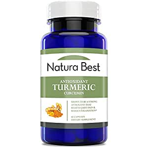 Naturabest Pure Turmeric Curcumin Supplement - High Potency Antioxidant, Pain Relief and Joint Support, 95% Standardized Curcuminoids, 60 Capsules