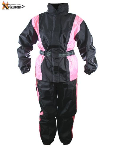 Xelement RN4786 Womens Black/Pink 2-Piece Motorcycle Rain Suit - X-Large