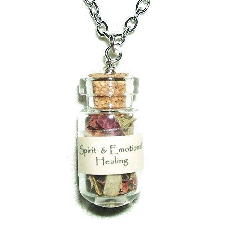 Spirit Emotional Healing Necklace Ancient Spirit Herbal Botanicals Glass Amulet Divination Metaphysical Spell Blessing