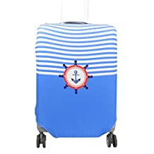 uxcell® Polyester Suitcase Navy Style Design Elastic Dustproof Protector Cover 29-32 Inch Blue
