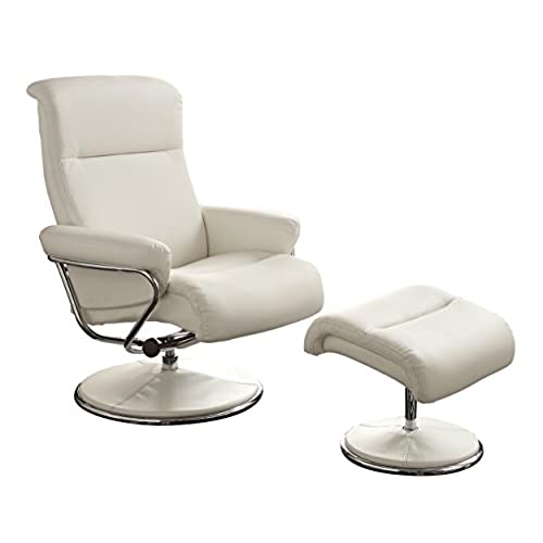 Homelegance 8550WHT 1 Swivel Reclining Chair With Ottoman, White Bonded  Leather Match
