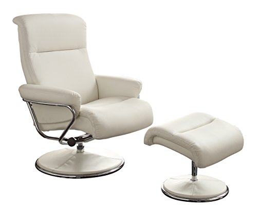 Leather Easy Chair (Homelegance 8550WHT-1 Swivel Reclining Chair with Ottoman, White Bonded Leather)