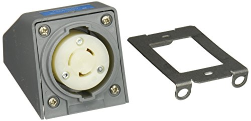 Hubbell HBL2320AR Locking Safety Shroud Receptacle, Angled Surface Mount, L6-20R, Gray by Hubbell (Image #1)