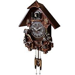 Sinix SN612 Handcrafted Antique Wooden Cuckoo Pendulum Wall Clock, Dark Brown
