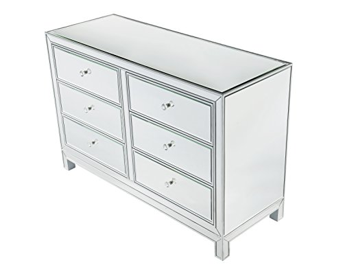 "Decor Central ADMFX7-6051 Drawers and Rectangle Mirror Top Dresser, 48"", Antique Silver Paint Finish"