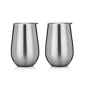 Insulated Wine Glasses with Lids - Stainless Steel Stemless Wine Cups - Set of 2 Double Walled Wine Tumblers with Clear Lids - 12 Oz - Shatterproof - BPA Free Healthy Choice - Best Value - By Avito
