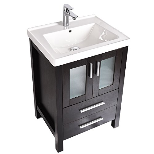 Elecwish, Bathroom Vanity Sink, Top Single Vitreous Lavatory, Ceramic Porcelain, Self-rimming, 24 inch Wide, Chrome Brass Faucet with Chrome Pop Up Drain, with Overflow Rectangular White Combo