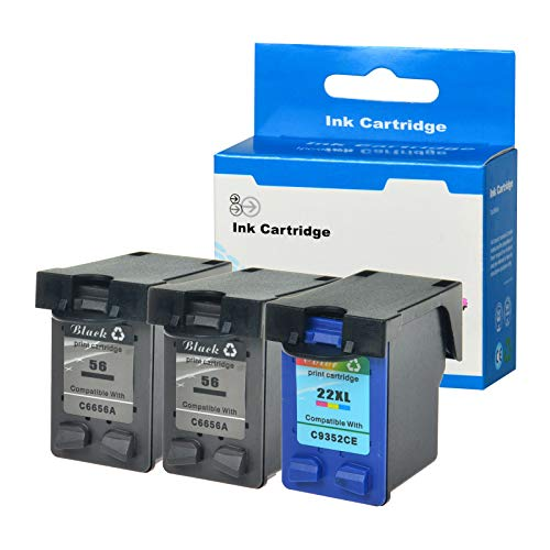 SuperInk 3 Pack Remanufactured Ink Cartridge Replacement for HP C6656AN C9352CE 56 22 22XL (2 Black,1 Tri-Color) Compatible HP Officejet 5605 5607 5608 5609 5610 5615 5679 5680 All-in-One Printer