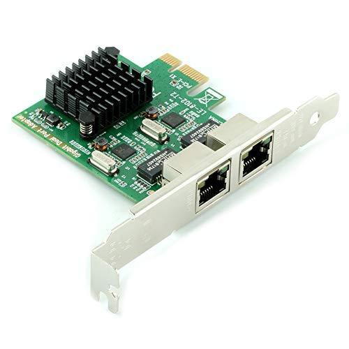 Ubit Gigabit LAN,Gigabit Ethernet PCI Express PCI-E Network Controller Card,10//100//1000mbps,Dual Port PCIE Server Network Interface Card RJ45x2 LAN Adapter Converter for Desktop PC