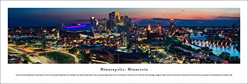 Minneapolis, Minnesota - Twilight Skyline - Blakeway Panoramas Unframed Skyline Posters