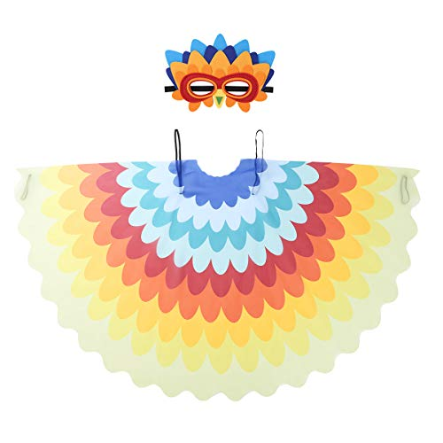 Freebily Kids Girls Boys Fairy Bird Costumes Halloween Owl Peacock Wings with Mask Feathered Party Favors Dress Up Type B One Size]()