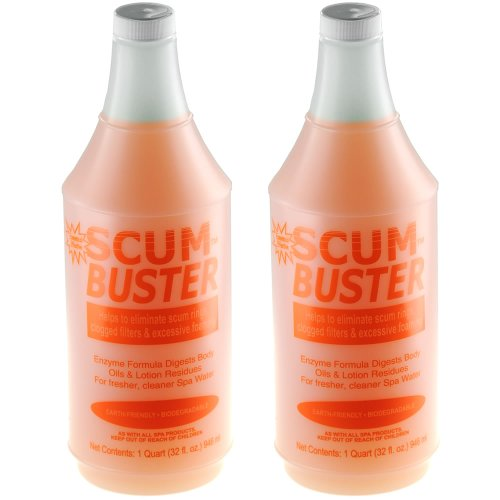 ScumBuster 2-Pack Hot Tub Spa Water Clarifier - 2 x Quart Bottles (64 oz. (Hot Tub Scum)