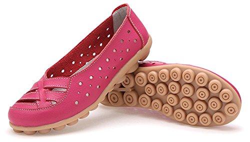 Fangsto Kvinners Skinn Loafers Flats Sandaler Slip-on Hot Pink
