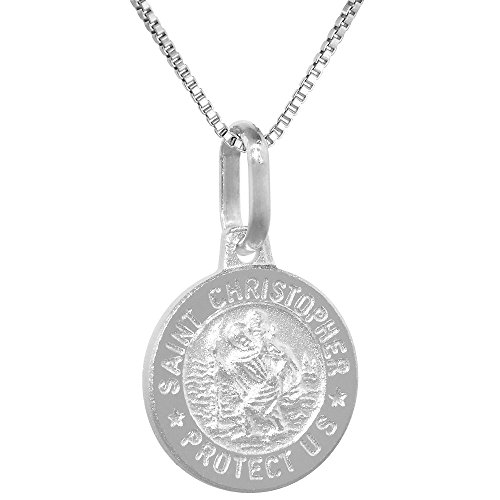 Dainty Sterling Silver St Christopher Medal Necklace 1/2 inch Round Italy 18 inch Box_015