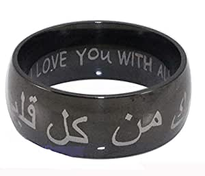 Stainless steel I love you with all my heart in Arabic English romantic valentine lover couple ring