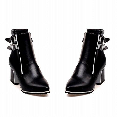 Mee Shoes Damen chunky heels mehrfarbig Reißverschluss Stiefel Schwarz und Weiß