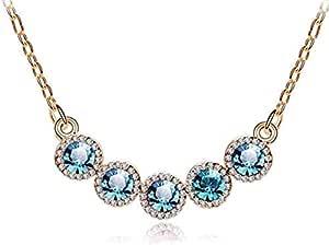 golden chain inlaid with five light blue zircon