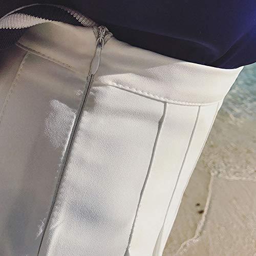 Casual Gonna Donna Solida Vita Elastica Bianco Alta Liangzhu Mini Pattinatrice Versatile Colore dYxwvqvF1