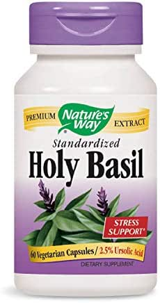 Nature's Way Premium Extract Standardized Holy Basil Stress Support, 2.5% Ursolic Acid, 60 Vcaps (Packaging May Vary)