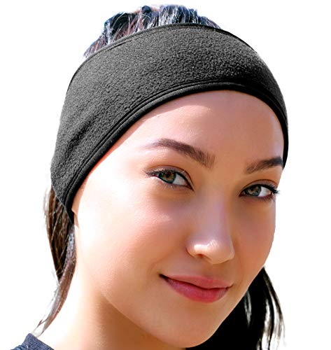Ear Warmer Headband for Women & Men: Best Cold Weather Fleece Headbands. UNIVERSAL FIT Black Ear Muffs Winter Head Band Wrap. Warm Hat Beanie Covers Ears for Running, Yoga, Skiing, Hiking, Workout etc