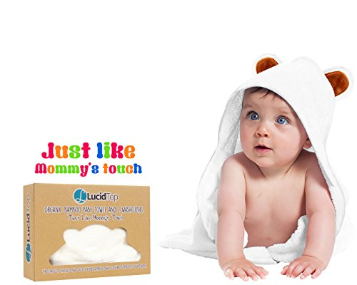 Le Top Hooded Robe (Premium Quality 100% Organic White Bamboo Baby Hooded Bath Towel By Lucid Top – Bathrobe With Hood For Babies & Infants – Non-toxic & Hypoallergenic – Bonus Set Of 2 Washcloths Included)