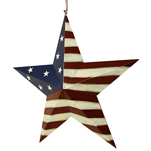 YK Decor Patriotic Old Glory American Flag Barn Star 4th of July Rustic Metal Dimensional 3D Star Wall Decor, (22'') by YK Decor (Image #2)