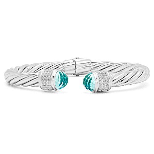 31/2Outlet-Rond Coupe Bleu et oxyde de zirconium-Blanc-Petit bracelet jonc en argent sterling 925